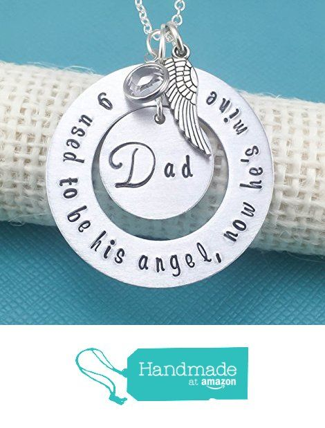 Memorial Necklace - I used to be his angel, now he's mine - Dad - Mom - Angel Wing and Crystal- Washer- Personalized Custom Jewelry - Loss of a loved one from The Jewelry Bar http://www.amazon.com/dp/B018F3Y73O/ref=hnd_sw_r_pi_dp_O-Gzwb135BSH3 #handmadeatamazon