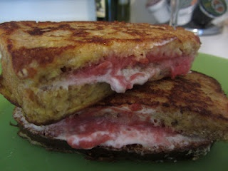 Raspberry Cheesecake Stuffed French Toast! Two slices of whole grain ...