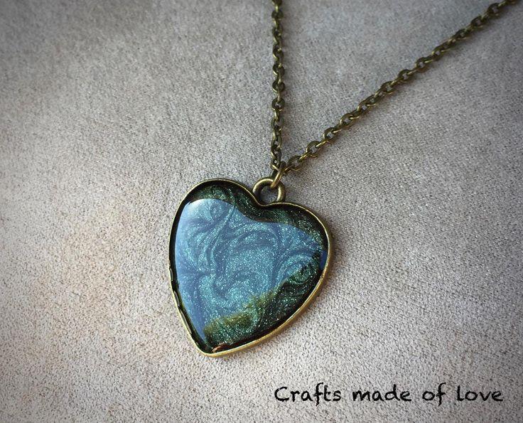 Dark green heart shaped pendant by CraftsMadeOfLoveShop on Etsy https://www.etsy.com/nz/listing/501836368/dark-green-heart-shaped-pendant