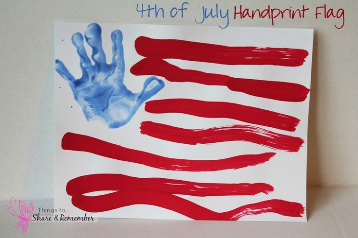 4th of July handprint flag