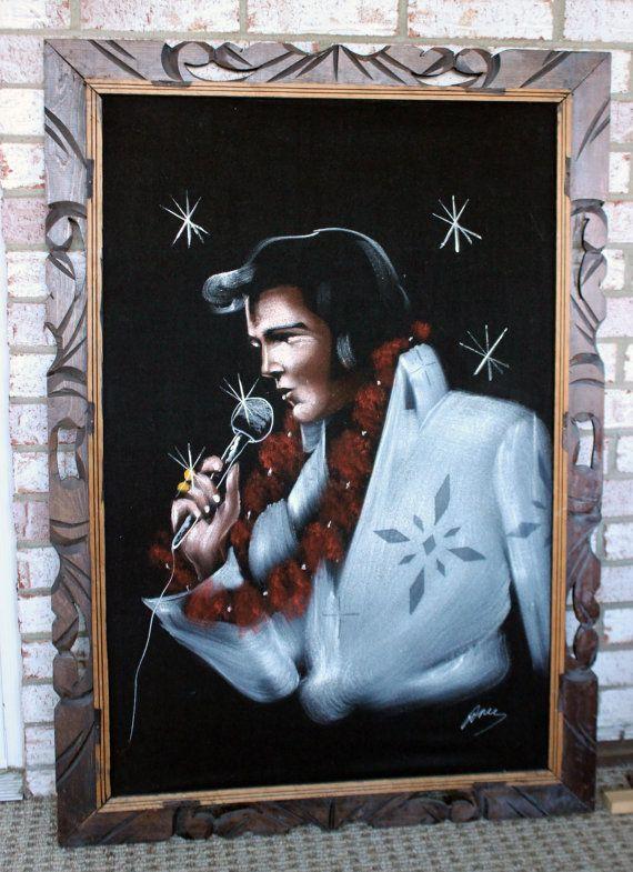 Vintage Velvet Elvis White Jumpsuit Hawaii Painting Large