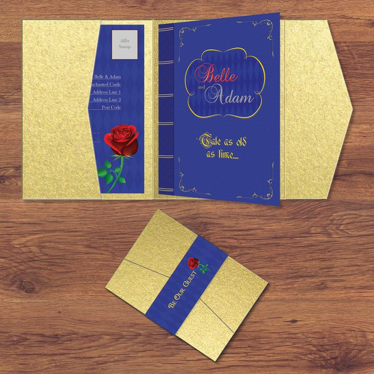 disney beauty and the beast wedding invitation disney inspired pocketfold design by eden craft - Beauty And The Beast Wedding Invitations