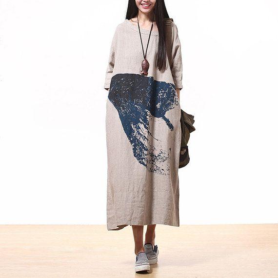 Plus size dress long dress maxi dress autumn dress by JulyFlower