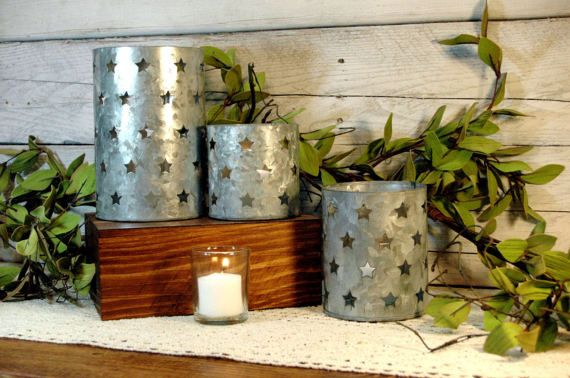 Tin Candle Holder Tin Star cut out Metal by TheRedPoppyPeddler