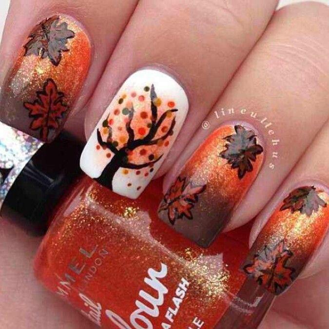 Fall and Autumn Nail Art Design - Falling Leaves