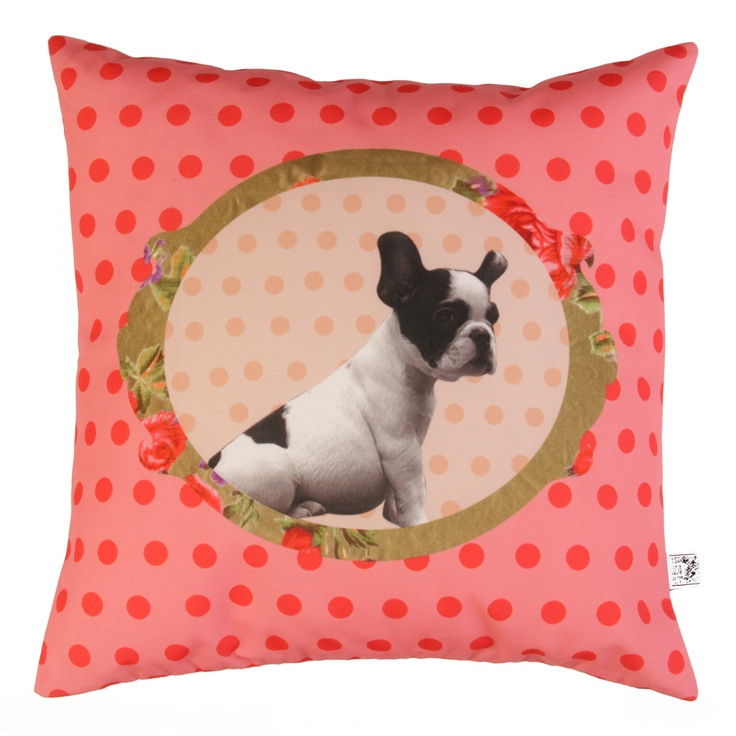 Bulldog cushion - looks cute and silly in our bedroom