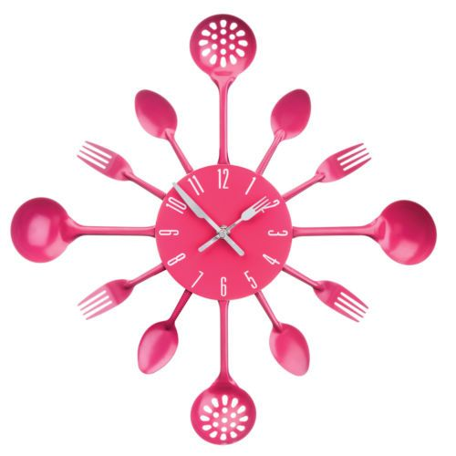 New Home Premier Funky Hot Pink Metal Cutlery Design Kitchen Wall Clock 43cm