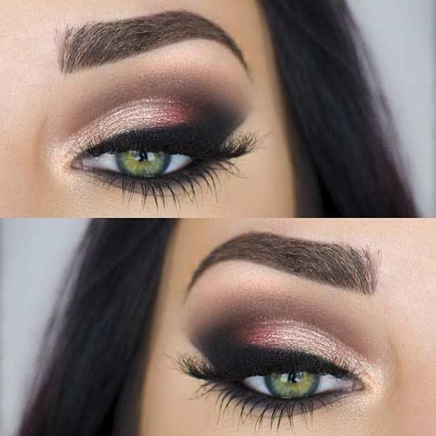 31 Pretty Eye Makeup Looks for Green Eyes: #18. PERFECT EVENING MAKEUP LOOK