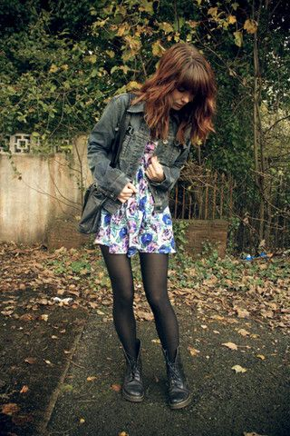 Motel Blue Floral Dress, Tommy Hilfiger Denim Jacket, Black Bag, Dr. Martens Doc Martens