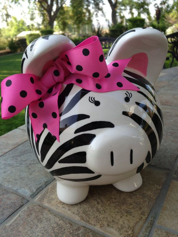Personalized Piggy Bank Zebra Print baby shower gift