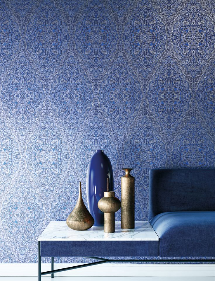 AIDA by Khrôma // Aida Indigo [AID401]  // Aida is inspired by the details on the extraordinary tea trays, the famous engraved silverware. This design is made in the colours Indigo, Snow and Desert. // #masureel #wallpaper #wallcovering #design #interior #interiordecor #decorating #decoration #interiorideas #interiorinspiration