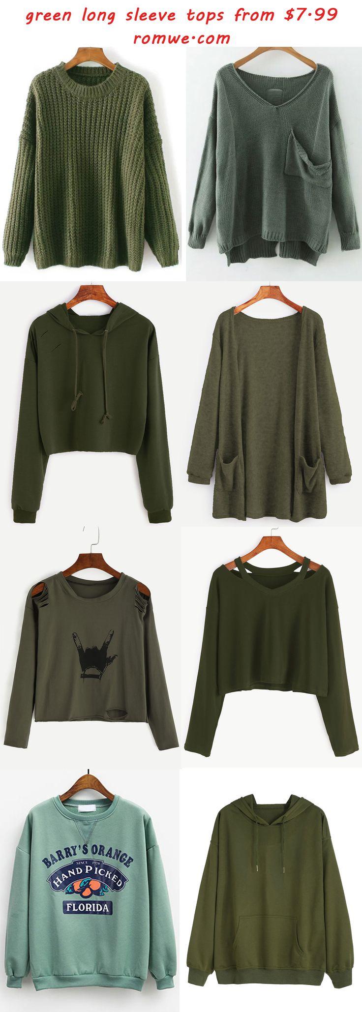 green long sleeve tops - romwe.com