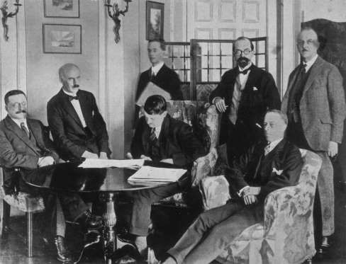1921: IRISH FREE STATE DECLARATION The Catholic Irish Free State is created as a self-governing dominion of Britain and the Anglo-Irish treaty is signed.Signing The Anglo-Irish Treaty - Topical Press Agency/Getty Images
