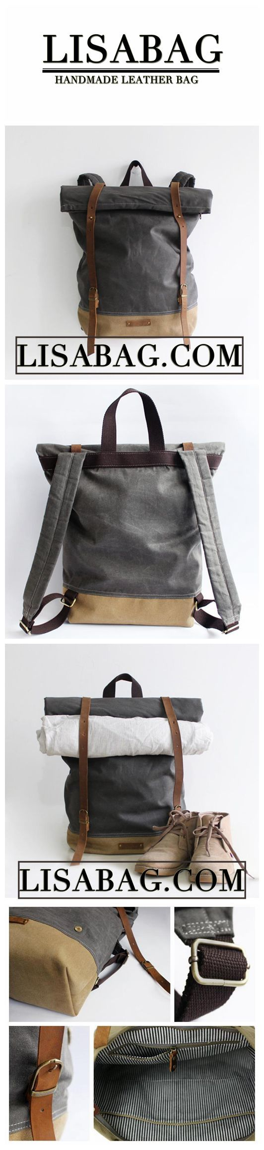 Handcrafted Waxed Canvas Travel Backpack School Backpack Hiking Rucksack Laptop Backpack 14129