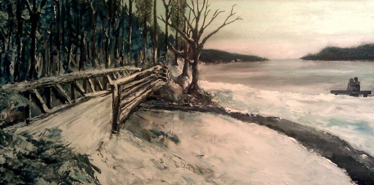 A landscape art produced in collaboration with a beautiful and friendly artist. The painting was commissioned and created within 2 days.  The actual size is about 20x48inches done with Acrylic.