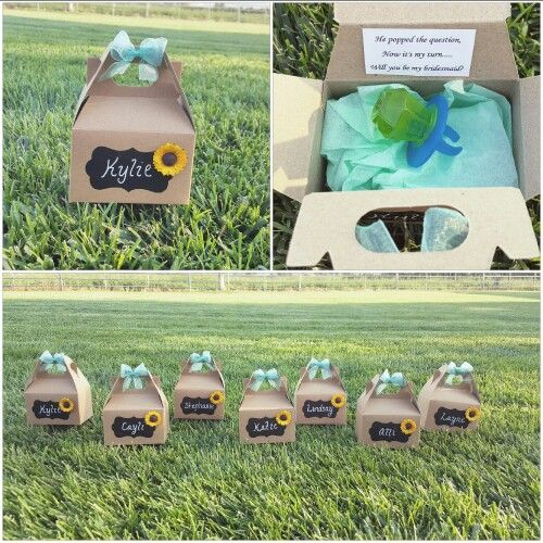 """Will you be my bridesmaid?"" Cute country wedding style"
