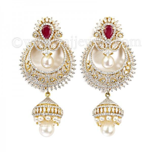 Colorless Diamond Chand Bali | Popular indian jewelry  in 18 karat two-tone gold...