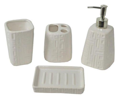 Set bagno in ceramica bianco clizia 4 pezzi colore Crema 1700 - Prezzo