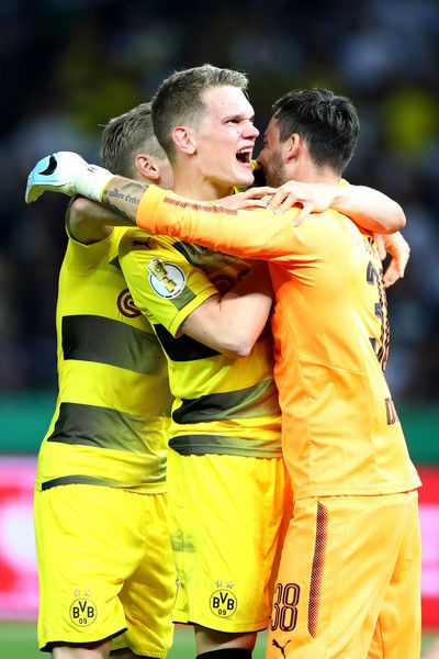Roman Buerki Photos Photos - Matthias Ginter (C) and Roman Buerki (L) of Dortmund celebrate winning the DFB Cup Final 2017 between Eintracht Frankfurt and Borussia Dortmund at Olympiastadion on May 27, 2017 in Berlin, Germany. - Eintracht Frankfurt v Borussia Dortmund  - DFB Cup Final 2017