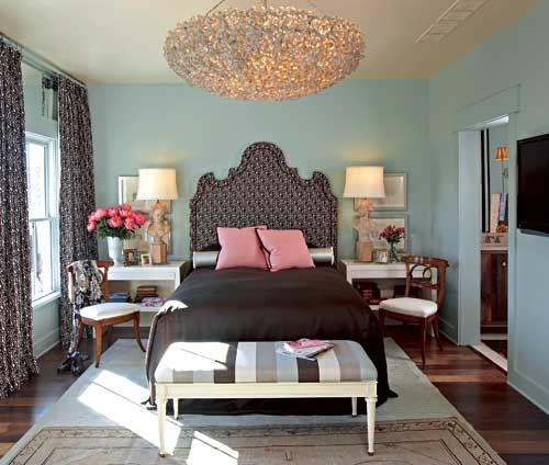 Aqua And Pink Bedroom Ideas: Turquoise Blue Walls Paint Color, Headboard, Black Bedding
