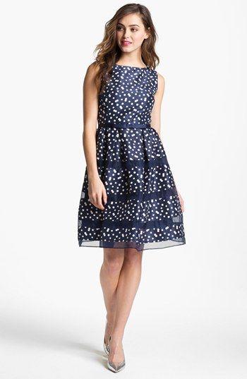 Adorable polka dot dress, so classy and fun! Taylor Dresses Taffeta Fit & Flare Dress