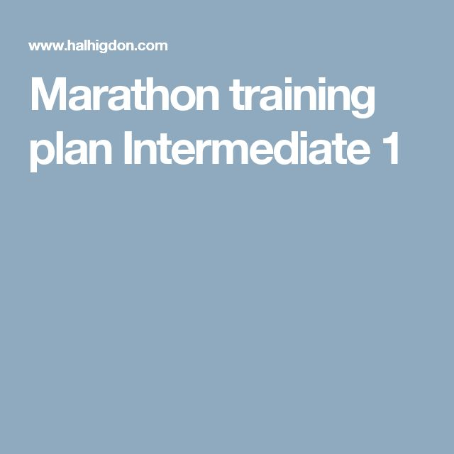 Marathon training plan Intermediate 1