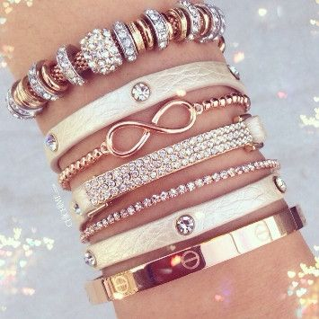 I love pairing rose gold bracelets with white leather!!!