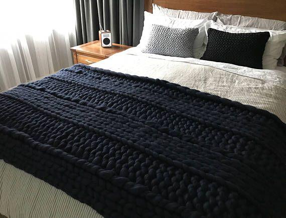 Chunky knit blanket  Merino Blanket  Bedroom Decor  Bedroom