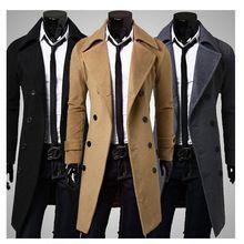 moda nuevos men largas trench coat doble de pecho abrigos de invierno yardas grandes para hombre lana doble capa de pecho