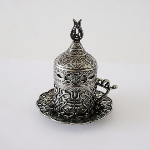 Pewter Turkish Coffee Set For Two