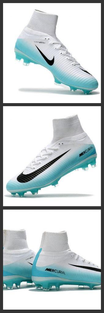 2017 Nuove Scarpe da calcio Nike Mercurial Superfly V FG Bianco Blu Nero Riprogettato per migliorare l'accelerazione, il telaio delle Superfly è realizzato in Nylon compresso, che è 40% più leggero rispetto alla piastra in fibra di carbonio utilizzata per