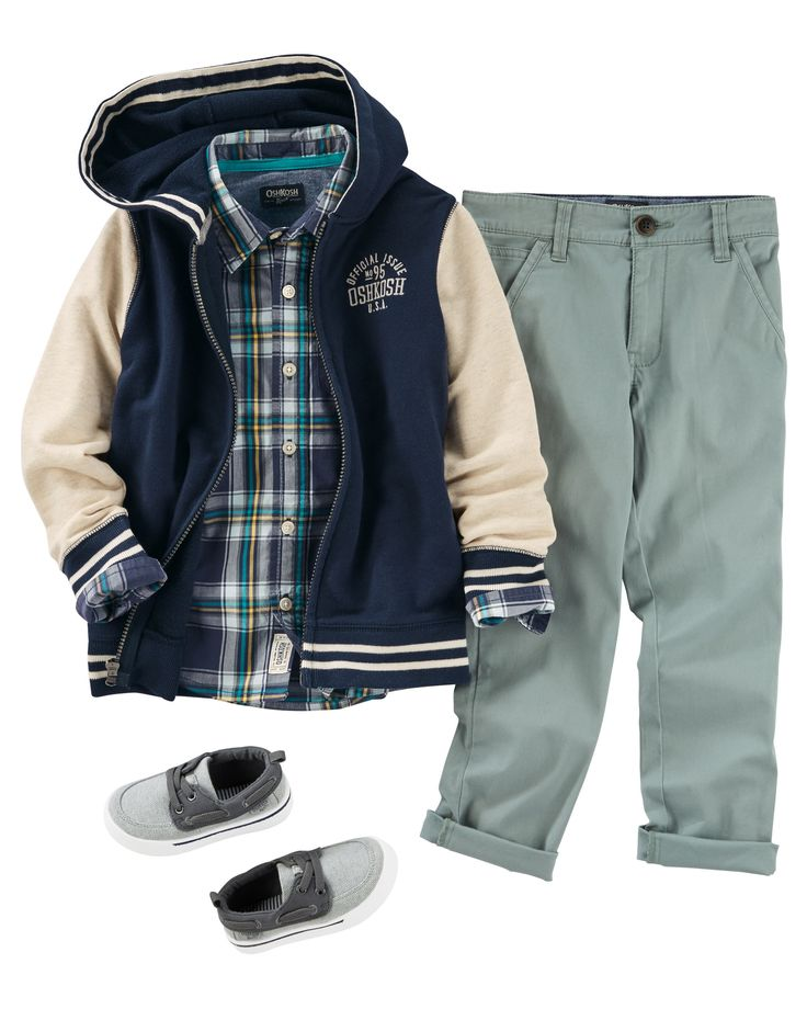 A plaid button-front looks just right over rolled twills and slip-on shoes. Top him off with a varsity hoodie for a sporty twist.