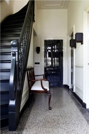 Granite old floor with border, black staircase. - black staircase ...