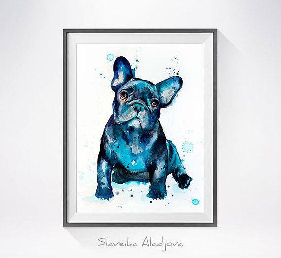 Französische Bulldogge-Aquarell drucken, französische Bulldogge-Kunst, tierischen Aquarell, Malerei französische Bulldogge, französische Bulldogge Illustration, Hund Kunst
