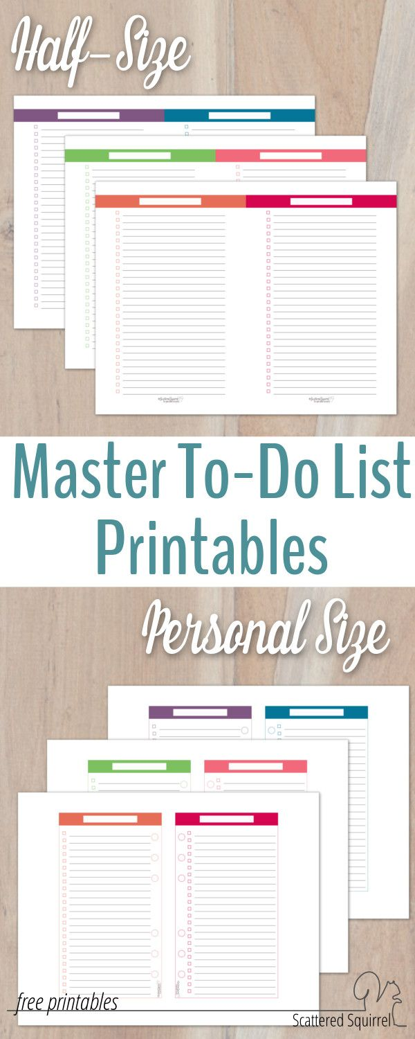 Organize your to-do lists in your planner with these master to-do list printables in both half-size and personal size. They make planning on the go easy-peasy.