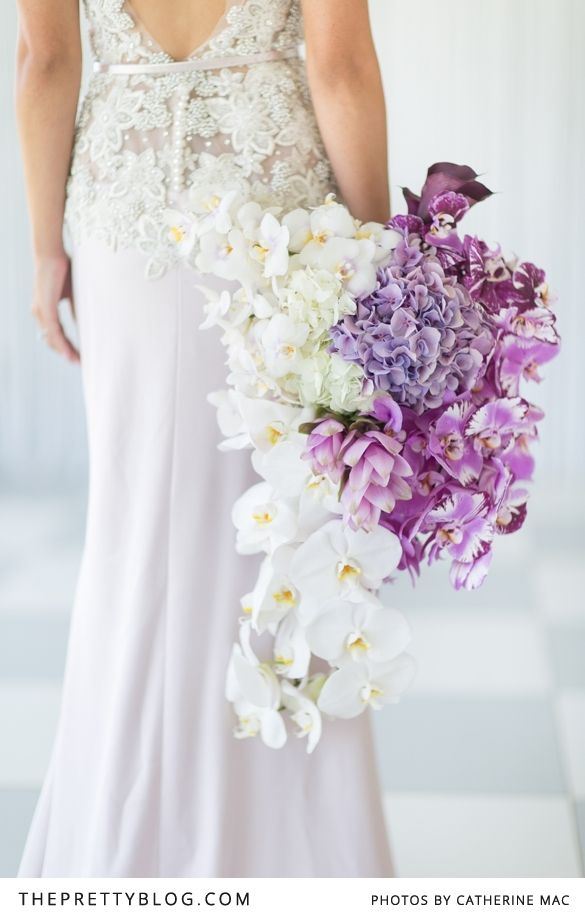 Beautiful white and purple hydrangeas, white and purple orchids, lylac anthuriums, white and purple roses for a purple inspired wedding! | Styling & Floral design: Heike from Fleur le Cordeur | Dress: Kobus Dippenaar | Photographer: Catherine Mac