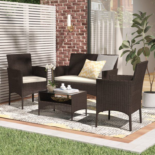 Terrific Woodland Park 4 Piece Rattan Sofa Seating Group With Inzonedesignstudio Interior Chair Design Inzonedesignstudiocom