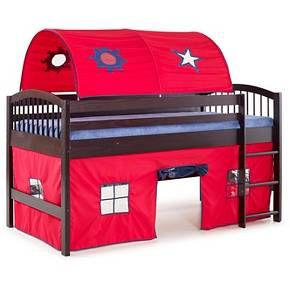 Playhouse area is a great spot to curl up and read a book, set up house or prepare for the next adventure. Arched top tent offers a safe and fun spot to rest, read and relax. Sun, moon and stars window cut-outs; Pine construction with red tent fabric and blue trim.