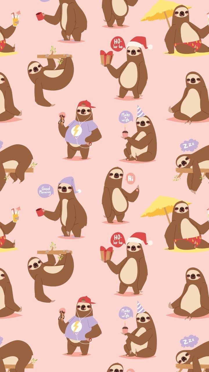 Sloth Pattern Shared By Mayavyeℓsus Giyaℓ On We Heart It Cute Cartoon Wallpapers Sloth Art Cute Wallpapers