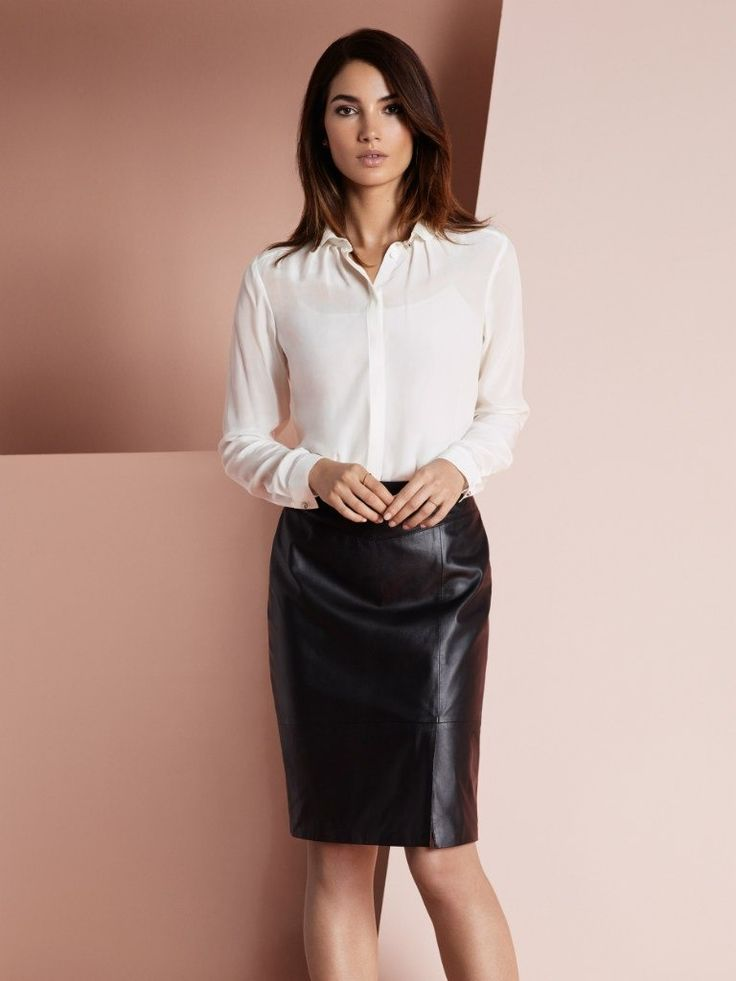 137 best whiteShirt&black leather images on Pinterest | White ...