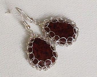 Wire crochet earrings Silver drop earrings. Pearl by ByDrora