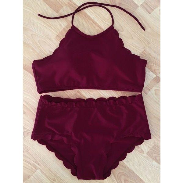 Trendy Wine Red High-Neck Scalloped Women's Bikini Set ($13) ❤ liked on Polyvore featuring swimwear, bikinis, scallop bikini, bikini swimwear, bikini beachwear, bikini swim wear and high neck bikini swimwear