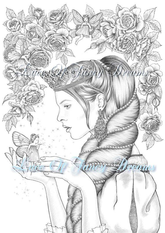 Princess And Little Fairy Coloring Page Download Beautiful Princess Coloring Page Printable Wish Gift Lucky Coloring Sheet Dibujos Divertidos Dibujos Pinturas