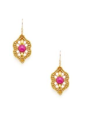 Miguel Ases   Fuchsia Jade & Miyuki Bead Geometric Floral Earrings by nanette