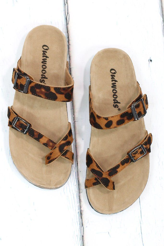 Similar looking to the Birkenstock sandals at a fraction of the cost! Toe strap, slide on sandal with non-slip bottom. Suede leather look with leopard print.