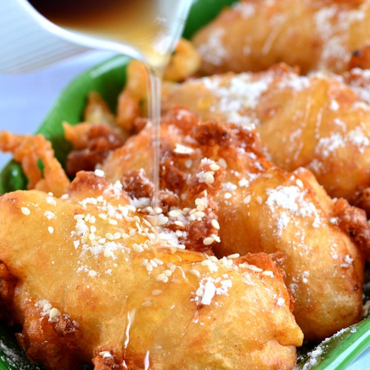 This deep fried bananas recipe is sort of like an apple fritter, except the bananas are inside the batter.  It is a very delicious treat.