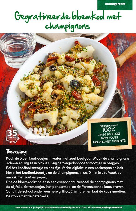 Recept voor gegratineerde bloemkool met champignons #Lidl