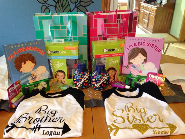 Big sibling survival kit, custom tshirt, book about being a big sibling,headphones because babies can be loud, hand sanitizer because germs are too big for little babies, disposable camera, lip balm and smarties