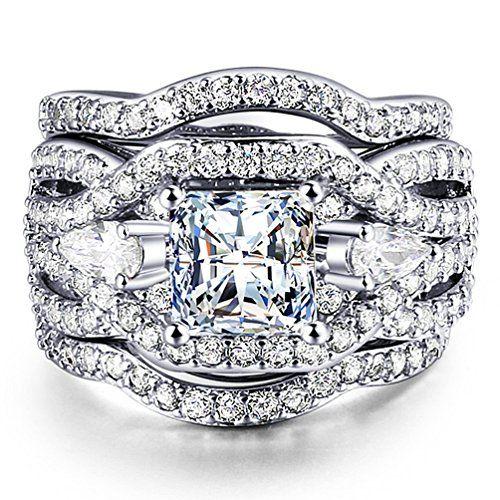 ZHENYUL Women's Gorgeous Wedding Ring 3 Piece Sets Engagement Bridal Band 18K White Gold Plated Cubic Zirconia (7)