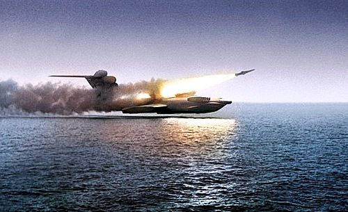 """enrique262: """"The soviet Lun-class ekranoplan ground-effect vehicle, better known as the Caspian Sea monster, in service from 1987 until the mid-nineties, powered by 8 turbojets and packing 6 anti-ship..."""